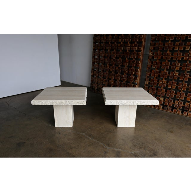 1980s Vintage Travertine Side Tables- A Pair For Sale - Image 4 of 13