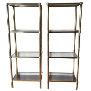 Brass-Plated Etageres - Pair For Sale