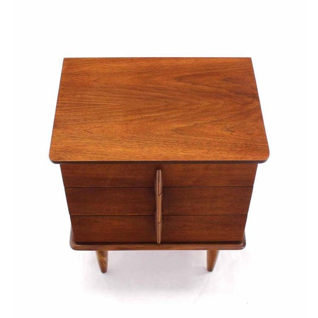 Walnut Three Drawer Nightstand Chest Solid Walnut Carved Pulls For Sale - Image 4 of 7