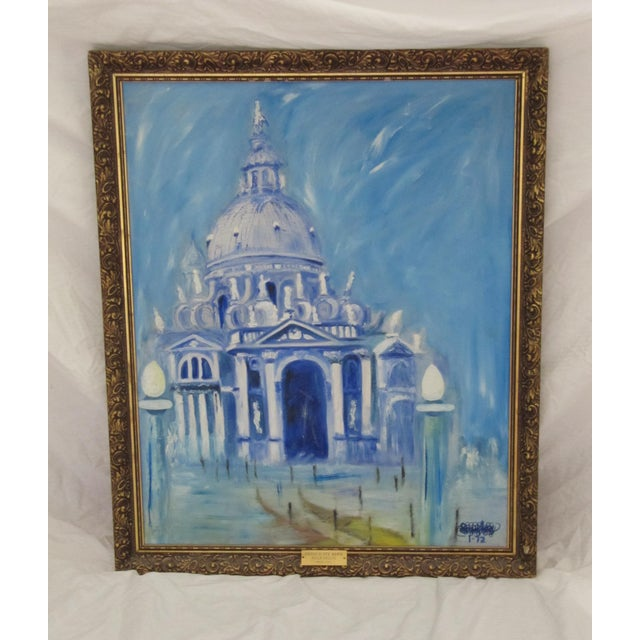 Gorgeous framed acrylic vintage painting of the Santa Maria della Salute Catholic church in venice. Painted in tones of...