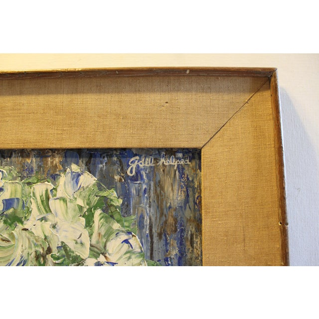 Mid-Century Blue Floral Still Life Painting - Image 4 of 5