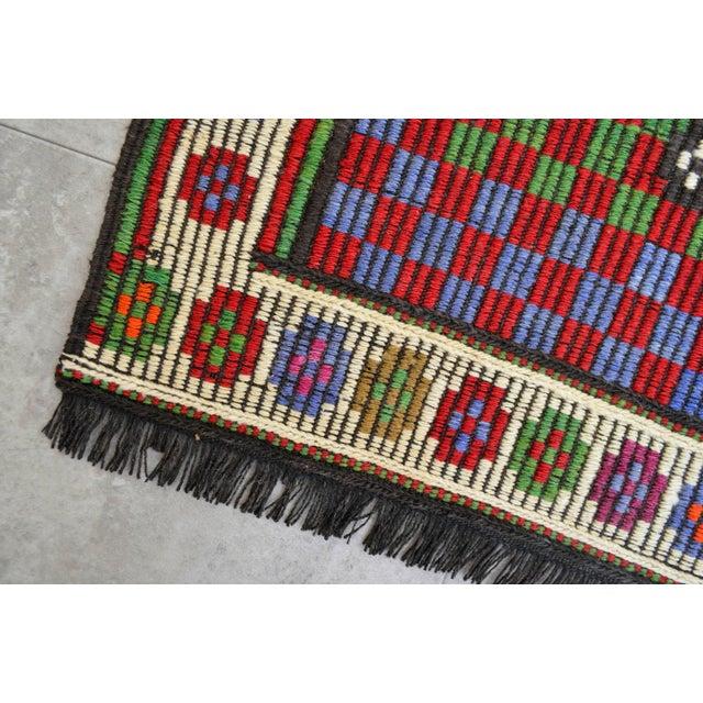 Blue Turkish Hand Woven Wool Starry Jajim Mini Kilim Rug - 2′6″ X 3′9″ For Sale - Image 8 of 8