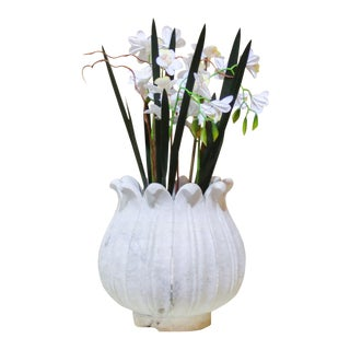 Large Detailed Marble Lotus Bud Vase For Sale