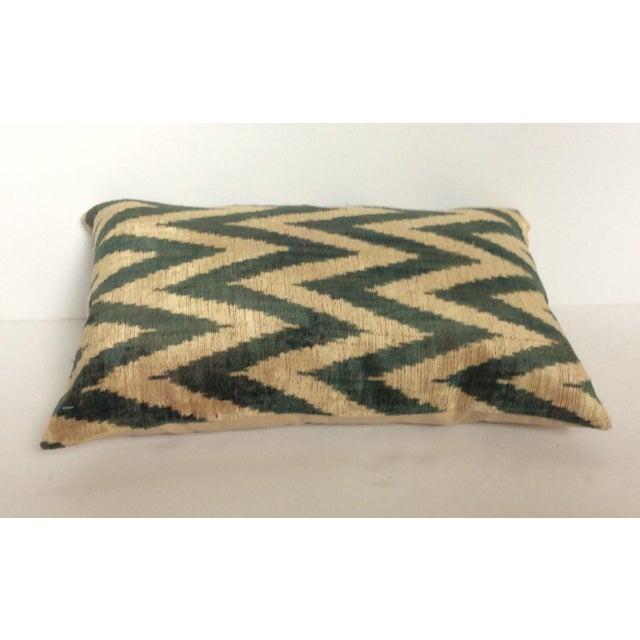 Green Silk And Velvet Ikat PIllow - Image 3 of 5