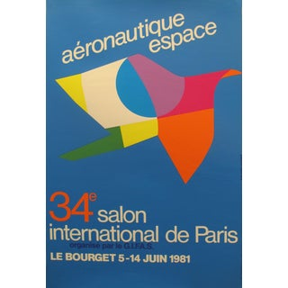 1981 Original French Aviation Poster, Aéronautique Espace (Le Bourget), 34e Salon International De Paris For Sale