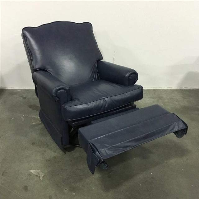 Navy Blue Swivel Recliner by Leathercraft - Image 6 of 10