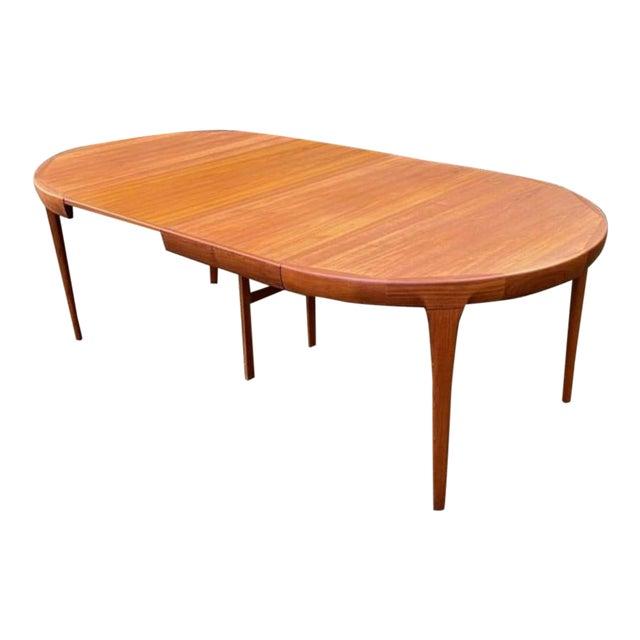 Vintage Ib Kofod Larsen Danish Mid Century Teak Round to Oval Dining Table For Sale