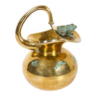Los Castillo Malachite & Brass Frog Pitcher For Sale