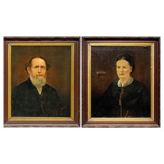 Antique Oil on Canvas Portrait Paintings of Clergy Man and Wife by Spencer For Sale