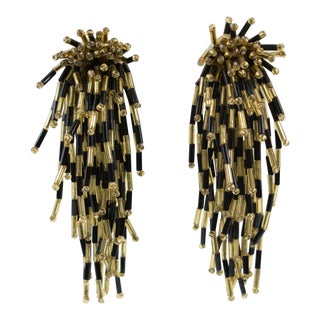 Oversized Waterfall Black Gold Glass Beaded Clip Earrings For Sale