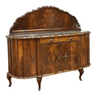 20th Century Antique Italian Venetian Marble Top Burlwood Sideboard For Sale
