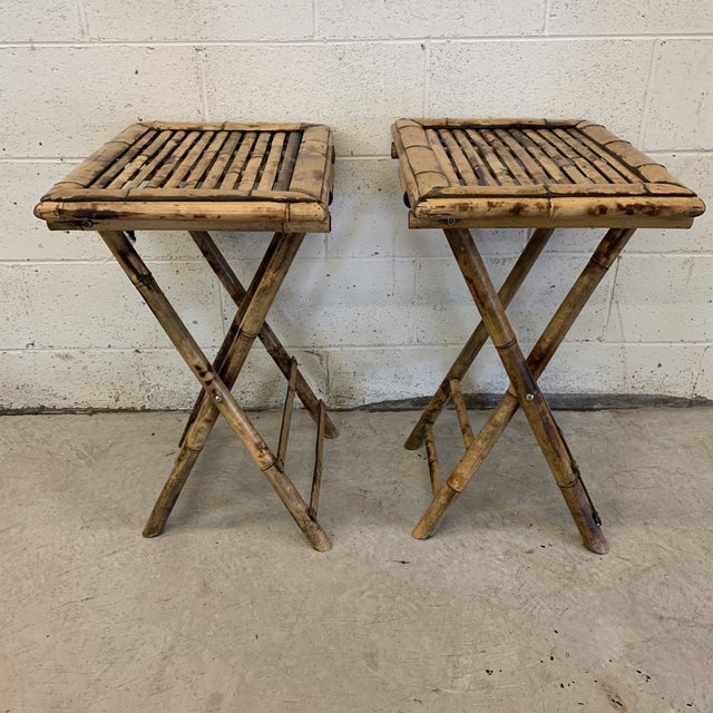 Vintage Burnt Bamboo Folding Tray Tables- a Pair For Sale - Image 13 of 13