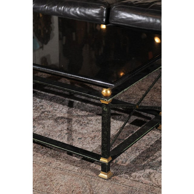 Mid 20th Century French Parisian Coffee Table with Black Marble Top, Iron Base and Brass Accents For Sale - Image 5 of 12
