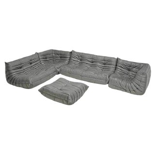 Rare Original 1980's Five Piece Leather Togo Sofa Set by Michel Ducaroy for Ligne Roset For Sale