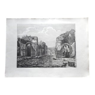 Antique Italian Architectural Engraving-Luigi Rossini-Pompeii-Elephant Folio-Early 19th C. For Sale