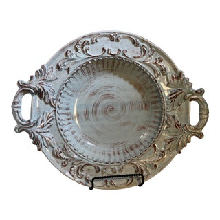 Ceramic Made in Italy Bowl Handles High Relief Designs Washed in Light Blue For Sale