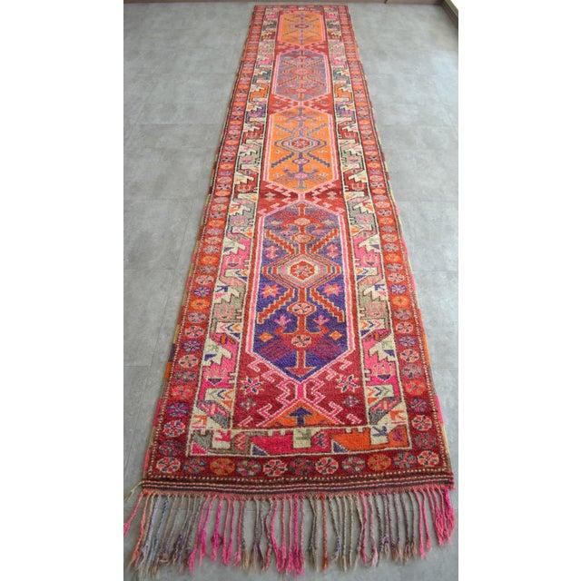 Heterodox Kurdish Runner Herki Rug. Hand-Knotted Colorful Tribal Long Runner - 3′1″× 15′6″ For Sale In Raleigh - Image 6 of 12