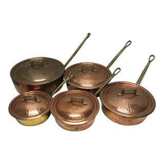 Mid 20th Century Vintage 10 Piece Heavy Copper and Brass Cookware Set For Sale
