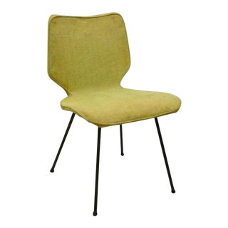 Vintage Mid Century Modern Wrought Iron Base Upholstered Side Chair For Sale