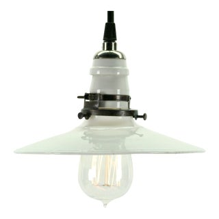 Vintage Industrial Utility Flat White Pendant Shade For Sale