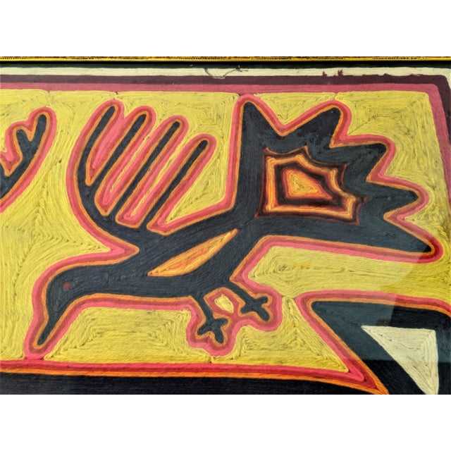 Large Framed Mola Hand Made Textile Animal Motif Wall Art For Sale In Miami - Image 6 of 13