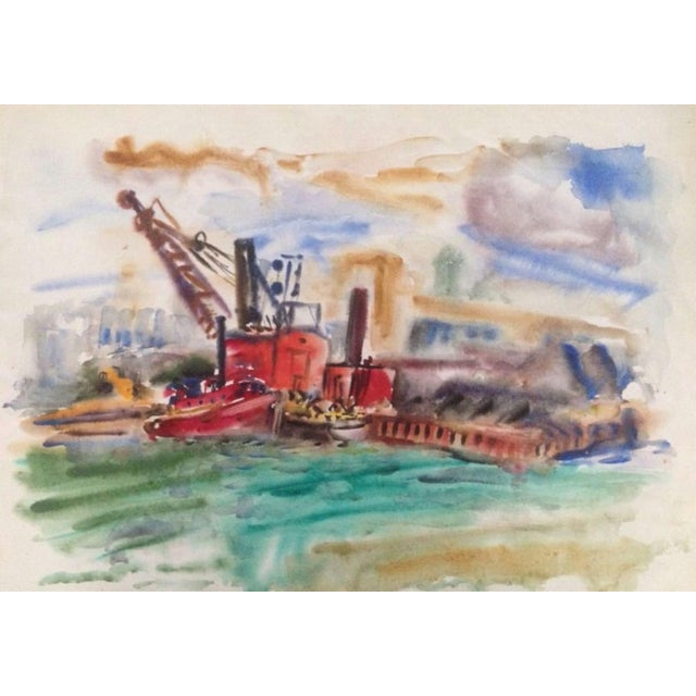 1950s Esther Landis Double Sided Chicago Pier Painting For Sale - Image 4 of 6