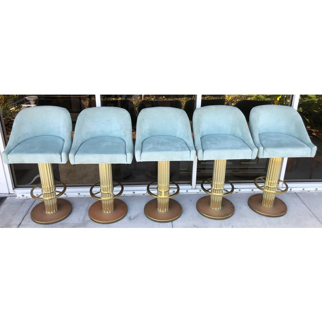 Mid-Century Modern Design For Leisure Brass Bar Stools - Set of 5 For Sale - Image 3 of 9