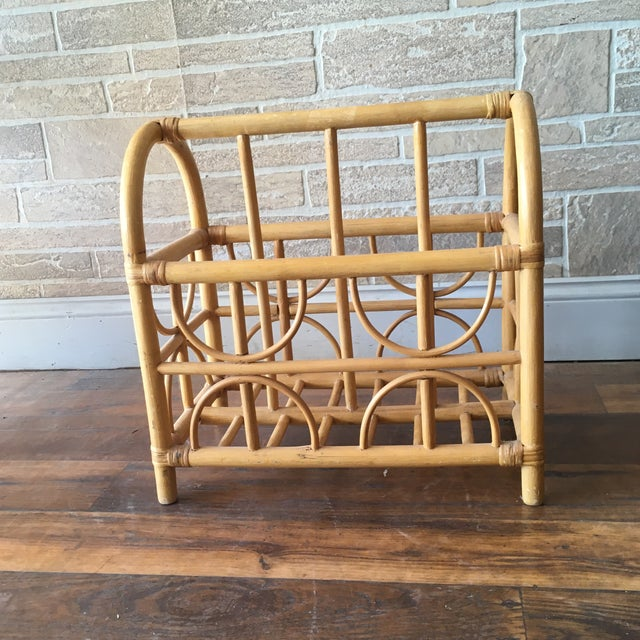 Wood Vintage Bamboo / Rattan Bentwood Divided Magazine Holder For Sale - Image 7 of 7