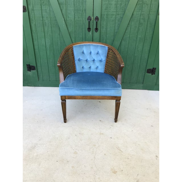 Cool Mid Century Blue Velvet Tufted Back Cane Barrel Chair Alphanode Cool Chair Designs And Ideas Alphanodeonline