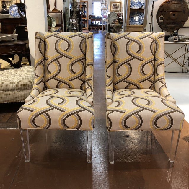 Modern Chairs on Acrylic Legs - a Pair For Sale - Image 13 of 13