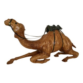 Hand Carved Wood & Leather Camel Figurine For Sale