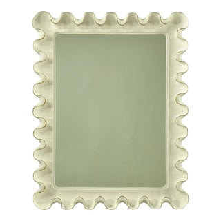 Art Deco Jean Michel Frank White With Gold Trim Scalloped Mirror
