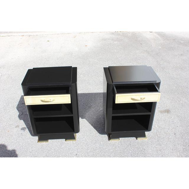 Classic Pair Of French Art Deco Parchment/ Ebonized Side Table / Nightstands, Circa 1940's - Image 3 of 11