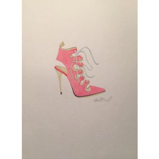 Contemporary Pink High-Heeled Lace Up Watercolor Painting For Sale