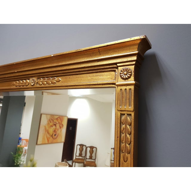 Neoclassical Vintage Rectangular Neoclassical Gilded Wall Mirror For Sale - Image 3 of 13