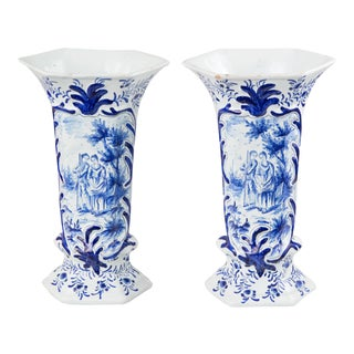 Antique Dutch Delft Vases With Figures - a Pair For Sale