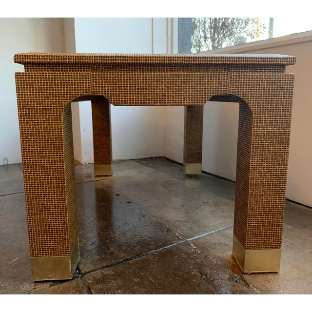 1970s 1970's Raffia Covered Side Table With Brass For Sale - Image 5 of 10