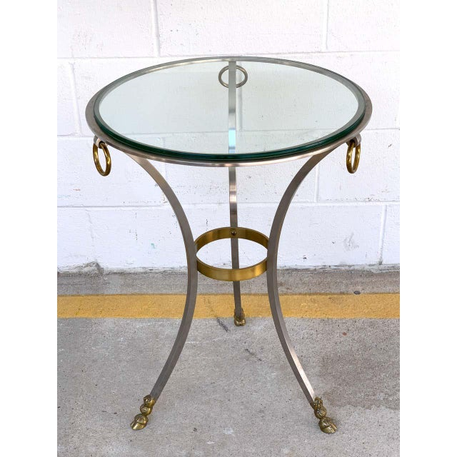 Maison Jansen Neoclassical Steel and Brass Gueridon For Sale - Image 4 of 11