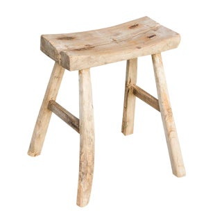 Rustic Elm Stool For Sale