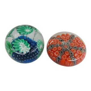 Vintage Art Glass Paperweights - a Pair For Sale