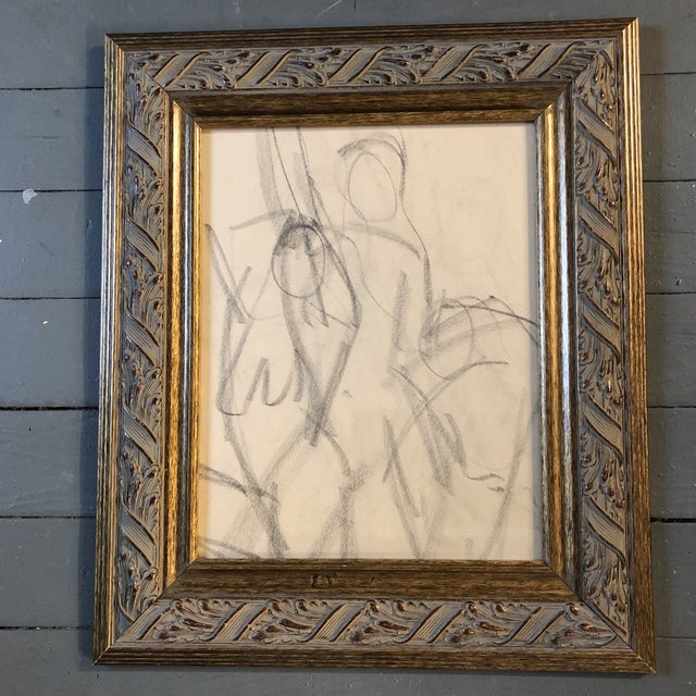 1950s Vintage Original Charcoal Female Nude Study Drawing For Sale - Image 5 of 5