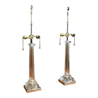 Pair of Glass Brass Tower Shape Mid Century Modern Table Lamps Crystal Finials For Sale