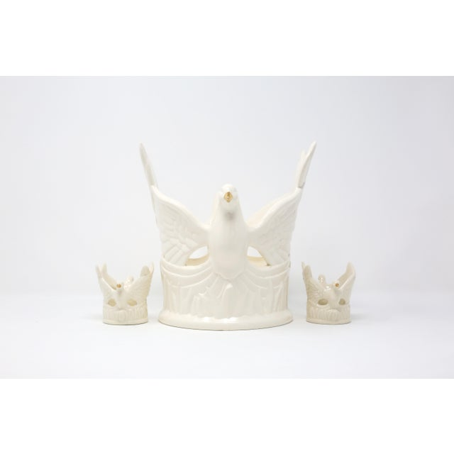 Ceramic Flying Doves Candle Holders - Set of 3 For Sale In Tampa - Image 6 of 12