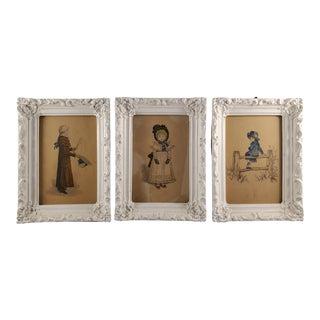 Set of 3 Italian Color-Prints of Children Illustration - Ornate Frames For Sale