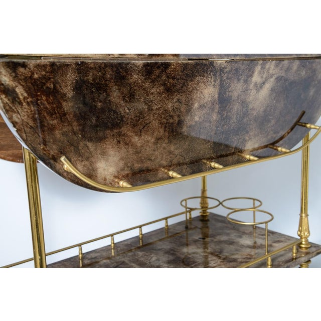 Brown Italian Aldo Tura Chocolate Color Lacquered Goatskin Bar Cart, C.1960-1970 For Sale - Image 8 of 13