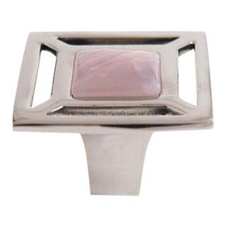 Addison Weeks Evans Custom Knob - Polished Nickel & Rose Quartz For Sale