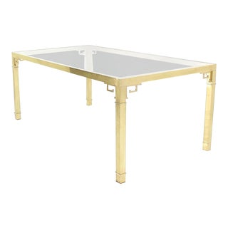 Hollywood Regency Mastercraft Brass Greek Key Design Dining Table For Sale