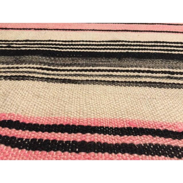 Blue Vintage Moroccan Flat-Weave Stripe Tribal Rug For Sale - Image 8 of 10