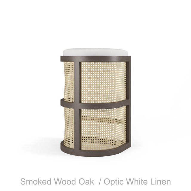 Not Yet Made - Made To Order Isabella Bar Stool - Smoked Wood Oak, Optic White Linen For Sale - Image 5 of 5