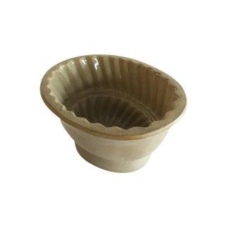 Antique Tan Stoneware Pudding Jello Kitchen Mold For Sale
